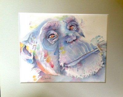 Foxie watercolor in mat by Lynn Cornnish